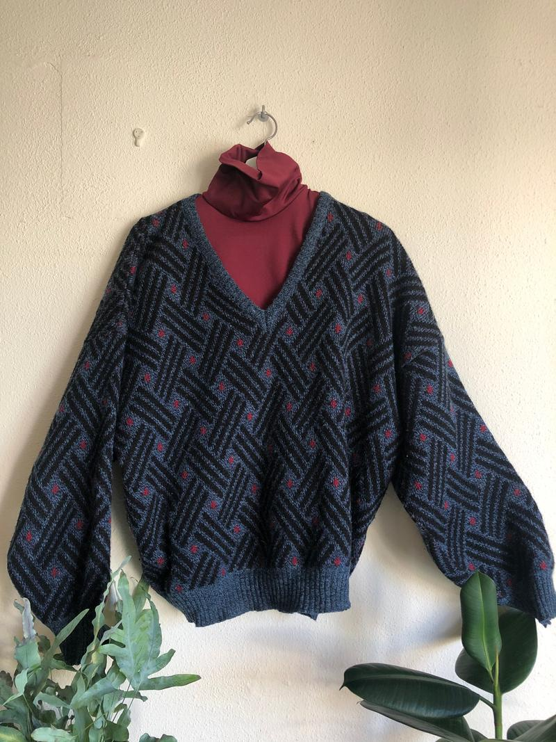 Vintage Blue Jumper With Print