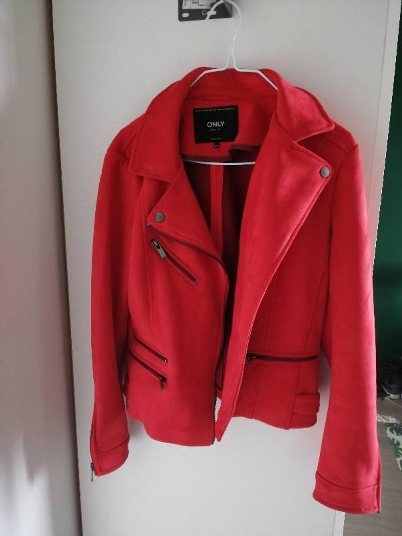 Red suède jacket, size M