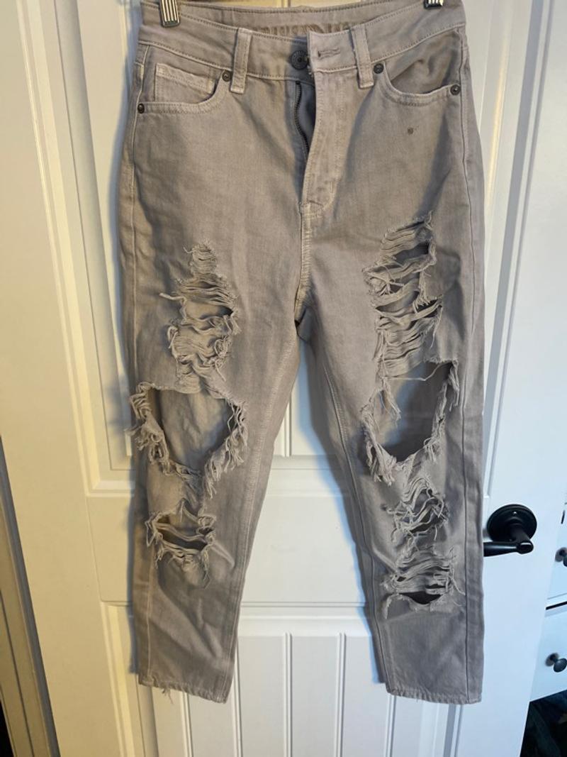 ae grey mom jeans